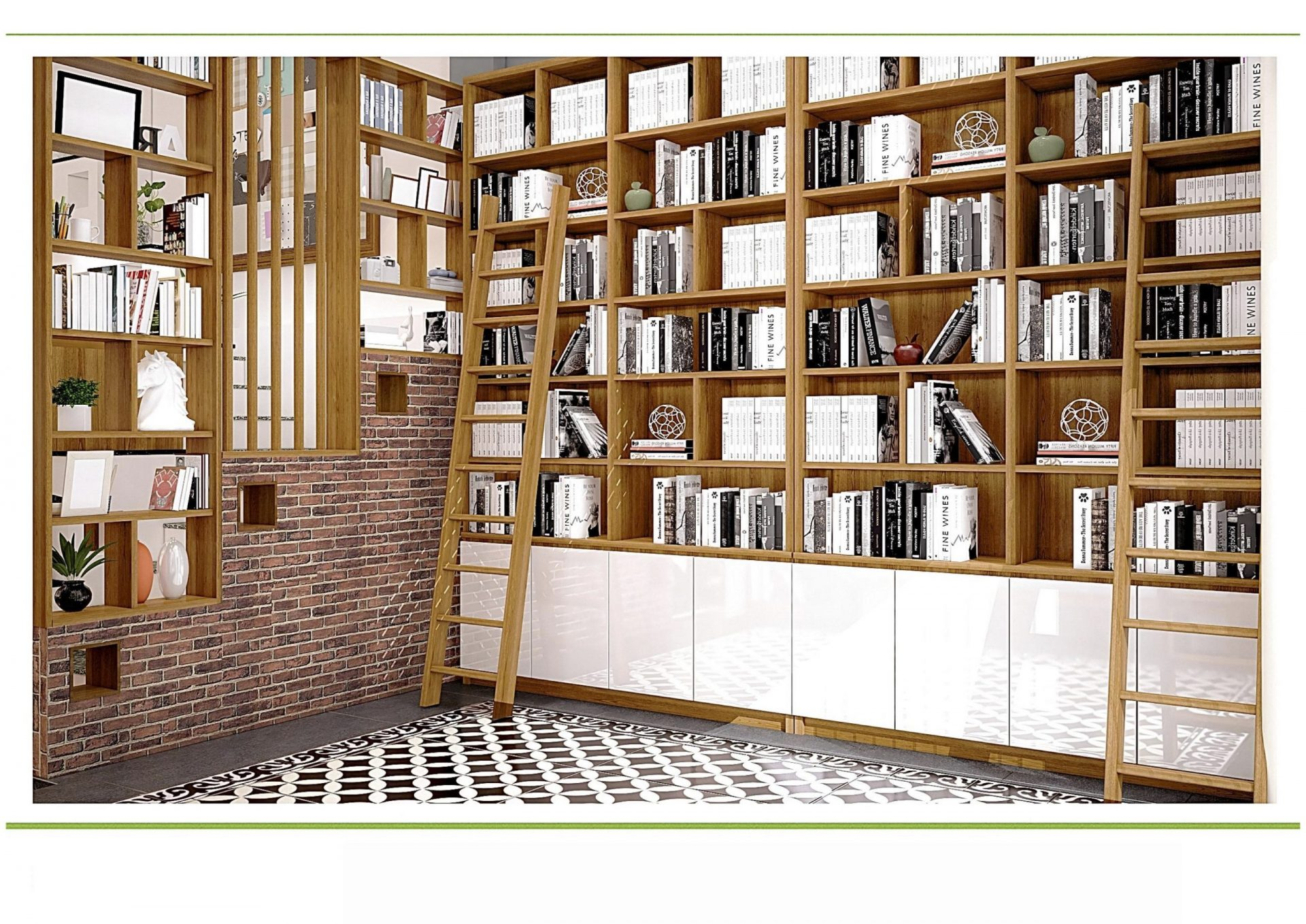 Toàn cảnh tủ sách trong co-wỏking space HYH36
